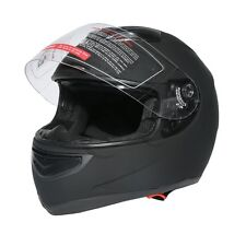DOT Dual Visor Matte Black Street Sport Bike Full Face Motorcycle Helmet M L XL