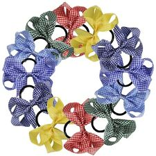 12x Boutique Hair Bow School Color Gingham Bows With Pony Tail Holder Hair Decor