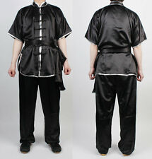 ChangQuan Uniforms Wushu KungFu Black Uniform Taichi Kung Fu Chinese Silver Trim