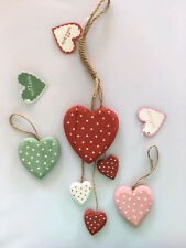 Set of Red Polkadot Hanging Hearts,Green & Pink Hearts Gift/Decor Sass & Belle
