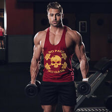 Men's Skull Barbell Gym Fitness Bodybuilding Muscle Training Tank Top Undershirt