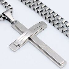 Mens Square Box Chain Silver Stainless Steel Chain Pendant Necklace 18-36''Inch