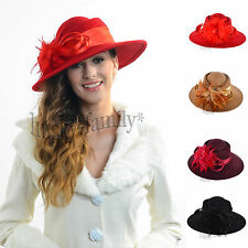 Noble lady 100% Wool feather Cloche Hat Church Dress wedding party wide brim hat