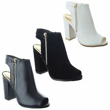 NEW LADIES WOMENS CHUNKY BLOCK HEEL ZIP PEEP TOE CUT OUT ANKLE BOOTS SHOES SIZE