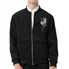 Man Cloth Cardigan Embroidery Coat Jacket Suit   black