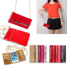 Glossy Enamel PU Leather Folio Lady Handbag Wallet Case For iPhone & Samsung
