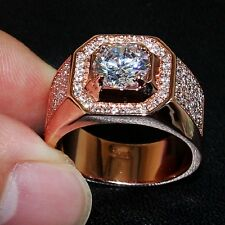 Fashion silver&rose gold filled CZ Stone Rings Wedding Band ring for Men SZ 8-13