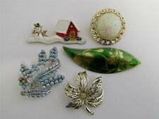 LOT OF FIVE PINS BROOCHES AMAZING VINTAGE COSTUME JEWELRY c1950-1980s