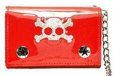 Embroidered Skull Triford Wallet with Chain Punk, Goth and Rockabilly Bikers