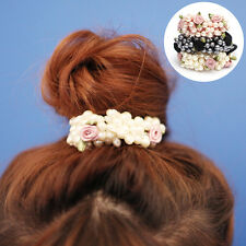 Women Pearls Hair Band Elastic Flower Bead Rope Elegant Ponytail Holder Fashion