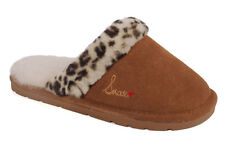 Snooki Leopard Scuff Sheepskin Slippers - Brown