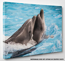 X LARGE Dolphins in Sea Stunning Animals Canvas Print Wall Art A1 A2 A3
