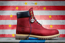 Timberland BOY'S LIMITED RELEASE 6 INCH PREMIUM WATERPROOF BOOTS PATRIOTIC RED