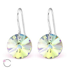 Women,Girls 925 Sterling Silver Round Earring with Crystal From Swarovski®-Boxed