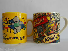 CHOICE OF 2 CERAMIC MUGS TREBOR/BASSETT JELLY BABIES OR BEANO DENNIS THE MENACE