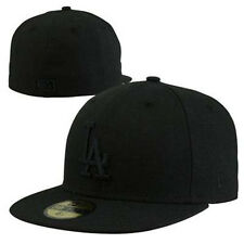 "NEW ERA 59FIFTY "" LOS ANGELES DODGERS ALL BLACK "" CAP MLB BASEBALL FITTED HAT"
