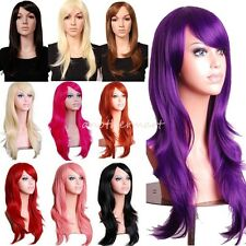 Real Long Hair Full Wigs 100% Natural Layered Wavy Cosplay Wig Party Halloween h