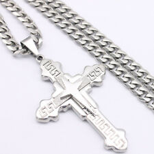 Mens Silver Gold Stainless Steel Curb Link Chain PENDANT Necklace 18-36inch 6mm