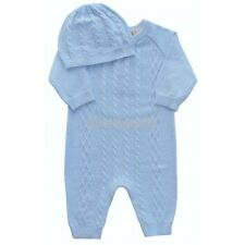 Baby Boys Blue All in One Knitted Cable Romper & Hat Newborn 0-3 Month