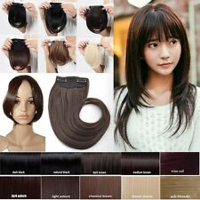 Real natural side bangs clip in front hair extensions piece fringe straight hair