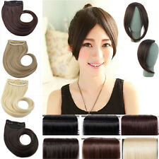 Long Side New women lady clip in on fake fringe bangs hair extensions Real Hot t