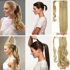 US 100% Real as Human Clip In Hair Extension Pony Tail Wrap Around Ponytail lku