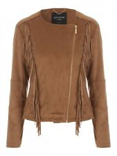 Jane Norman Tan Faux Suede Fringed Jacket 14/40 Tan