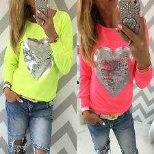 Women Tops Long Sleeve Sweet Heart-Shaped Paillette Casual T-Shirt Tee Glitter