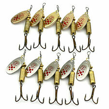 10pcs Metal Fishing Lures Spoon Lure Hard Bait Bass Fishing Hook Tackle Choose