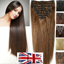 UK STOCK Premium Double Weft 160G clip in Remy Human Hair Extensions Full Head