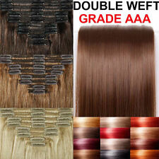 UK SALE Royal Grade Double Weft clip in Remy Human Hair Extensions Full Head HFD