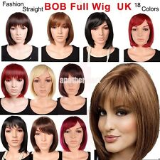 Modern Women's Short Hair BOB Full Wig Daily Party Wigs Black Brown Blonde Red E