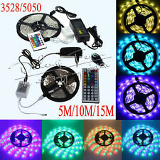 5M 10M 15M 3528 5050 RGB White SMD Flexible Light LED Strip 12V Power Remote IR