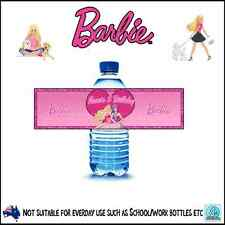 BARBIE - BIRTHDAY PARTY PEEL & STICK PERSONALISED - WATER BOTTLE LABELS -