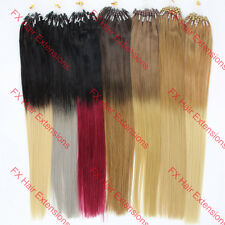 100s Easy Loop Micro Rings silicone Beads Ombre Hair Remy Human Hair Extensions