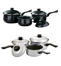 3PC NON STICK COOKWARE SET SAUCEPAN PAN POT SET SILVER AND BLACK BELLY SHAPED