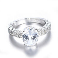 11*9mm White Sapphire Band 10KT White Gold Filled Engagement Gift Ring Size 6-11