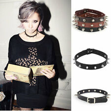 Stunning Rock Punk Gothic Lady Leather Choker Spike Rivet Buckle Collar Necklace
