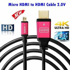 Micro HDMI to HDMI Cable 2.0V Premium 4K 2160p 3D Gold Plated Full HD 1.5M-5M