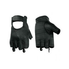 Hugger Men's Leather & Mesh Fingerless Motorcycle Gloves Summer Breathable Back
