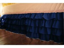 """Stylish 1-QTY Multi Ruffle Bed-Skirt/Valance Drop 8"""" To 20"""" Navy Blue Solid"""