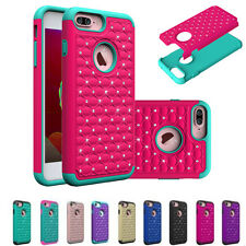 Shockproof Hybrid Rugged Rubber Bling Crystal Case Cover for Apple iPhone 7 Plus