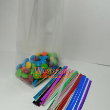 100pcs 3 x 1 3/4 X 8 crystal clear gusseted cello bags + free twist ties (13110)