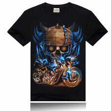 Fashion Cool Mens 3D Skull Printed Cotton T-shirts Casual Crew Neck Casual Tee