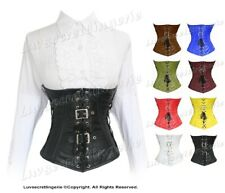 Full Steel Boned Waist Training Genuine Leather Underbust Shaper Corset #1219-LE
