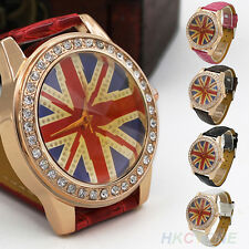 England UK British Flag Woman's Crystal Leather Quartz Wrist Watch Hot Trendy