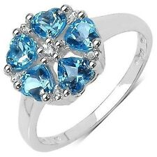 1.45 CTW Swiss Blue Topaz and White Topaz Gemstone Ring in Sterling Silver