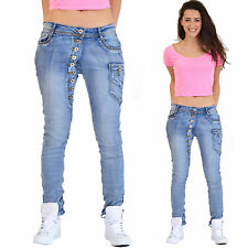 New Ladies Womens Light Blue Faded Slim Leg Boyfriend Denim Jeans Short Leg