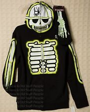 TONY HAWK Costume Hoodie Mask GlownDark XRay Skeleton Socks Slippers Halloween L