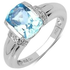 2.06 CTW Blue Topaz and White Topaz Gemstone Ring in Sterling Silver